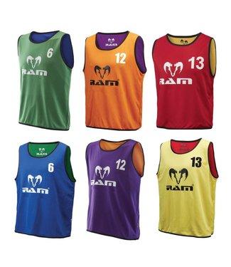 RAM Rugby 2-zijdig draagbare, 2-kleurige shirts/hesjes. Genummerd 1 tm 15, Traininghesjes
