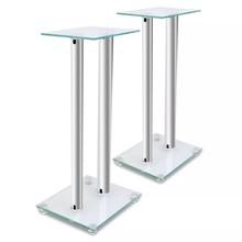 Luidsprekerstandaard van glas (2 stuks / elk met 2 zilveren zuilen)