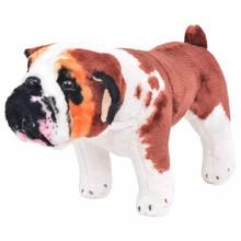 Speelgoedbulldog staand XXL pluche wit en bruin