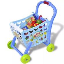 Speelgoedwinkelwagentje voor kinderen kinderkamer 3-in-1 blauw