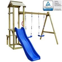 Speelhuis set + glijbaan/schommels 238x228x218 cm grenenhout