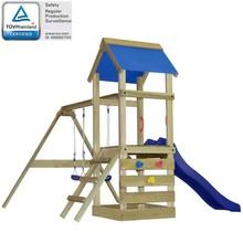 Speelhuis met ladder, glijbaan en schommels 290x260x245 cm hout