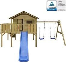 Speelhuis met ladder, glijbaan en schommels 480x440x294 cm hout