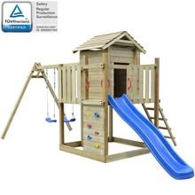 Speelhuis met ladder, glijbaan en schommels 557x280x271 cm hout