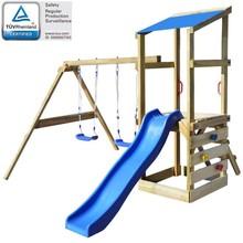 Speelhuis met ladder, glijbaan en schommels 290x260x235 cm hout