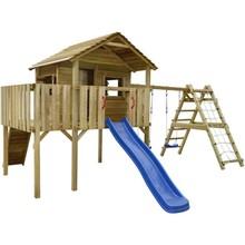 Speeltoestel hout met klimnet, glijbaan, schommels 560 x 440 x 294 cm
