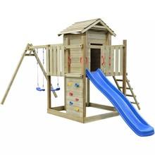 Speeltoestel hout met trap, glijbaan en schommels 557 x 280 x 271 cm