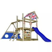 Houten speelset met ladder, glijbaan, goal en schommels Engelse vlag M