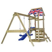 Houten speelset met ladder, glijbaan en schommels Engelse vlag S