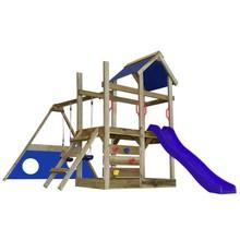 Houten speelset met trap, glijbaan, schommels en klimgaten M