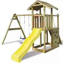 Speeltoren met ladder, glijbaan en schommels (hout)
