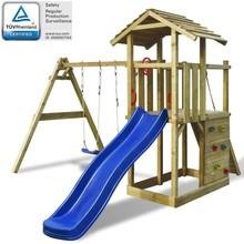 Speelhuis met ladder, glijbaan en schommels 419x350x266 cm hout