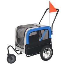 Huisdieren fietskar 2-in-1 aanhanger & loopwagen grijs en blauw