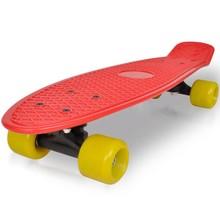 """Retro pennyboard met rode bovenkant en gele wielen 6,1"""""""