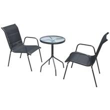 Bistroset 50x71 cm staal textileen zwart