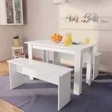 Eetkamertafel en banken spaanplaat wit 3 st