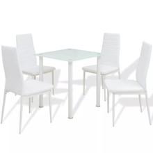 Eettafel en stoelenset 5-delig wit
