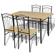 Eetkamerset lichtbruin 1 tafel met 4 stoelen