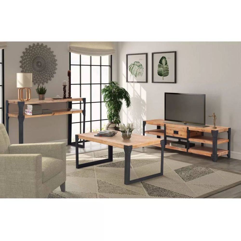 Woonkamer meubelset massief acaciahout 3-delig - Kijkalles