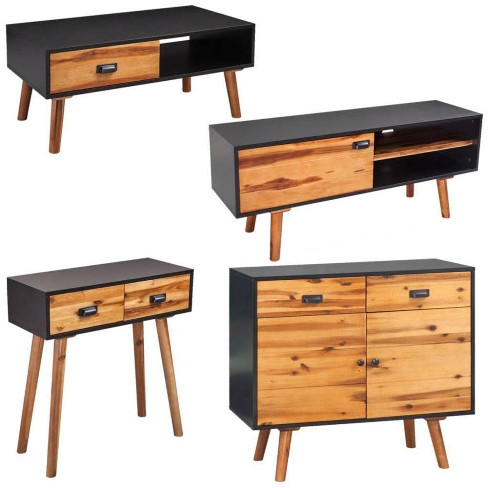Woonkamer meubelset massief acaciahout 4-delig - kijkalles