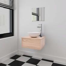 Badkamermeubelset 4-delig met kraan en wasbak beige