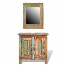 Badkamerset met kastje en spiegel van gerecycled hout