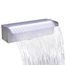 Vierkant watervalornament met LEDs voor de vijver RVS 30 cm
