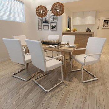 Eetkamerstoelen modern design kunstleer wit 6 st - Kijkalles