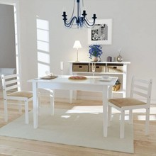 Eetkamerstoelen vierkant hout wit 2 st