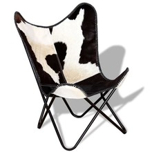 Vlinderstoel zwart en wit echt rundleer