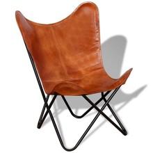Vlinderstoel bruin echt leer
