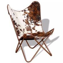 Vlinderstoel echt koeienleer bruin en wit