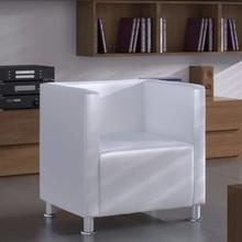 Fauteuil met kubusontwerp Carenno kunstleer wit