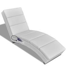 Massage ligstoel kunstleer wit