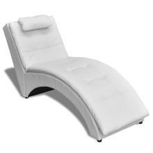 Chaise longue met kussen gewelfd kunstleer wit