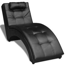 Chaise longue met kussen gewelfd kunstleer zwart