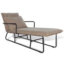 Chaise longue met ijzeren frame en stof lichtbruin