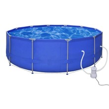 Opbouwzwembad met stalen frame en filterpomp 475 cm rond