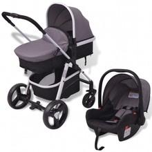 Kinderwagen 3-in-1 aluminium grijs en zwart