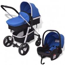 Kinderwagen 3-in-1 blauw en zwart aluminium