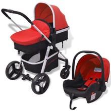 Kinderwagen 3-in-1 rood en zwart aluminium
