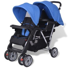 Dubbele kinderwagen staal blauw en zwart