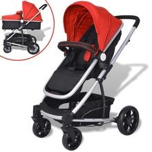 Kinderwagen 2-in-1 rood en zwart aluminium