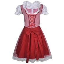Dirndl jurk Oktoberfest met schort rood L/XL