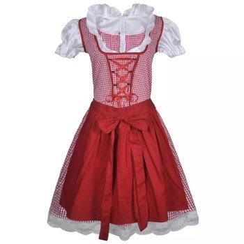 Dirndl jurk Oktoberfest met schort rood M/L