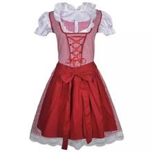 Dirndl jurk Oktoberfest met schort rood S/M