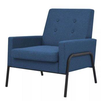Fauteuil staal en stof blauw