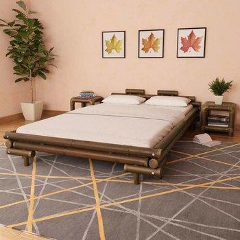 Bed met 2 nachtkastjes bamboe donkerbruin 140x200 cm