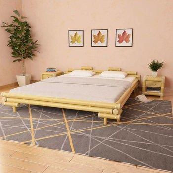 Bedframe met 2 nachtkastjes bamboe natuurlijk 180x200 cm