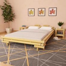 Bed met 2 nachtkastjes bamboe naturel 140x200 cm